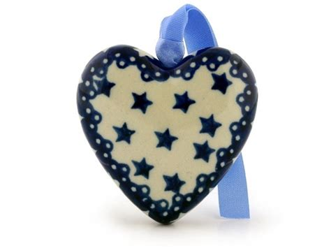 heart pattern crockery polish pottery 3 inch ornament heart boleslawiec