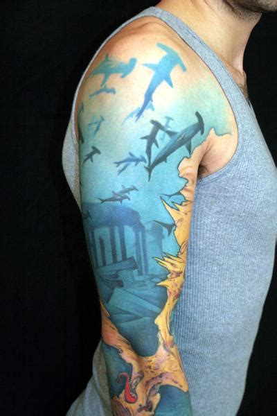 shark sleeve tattoo designs 187 shark pictures