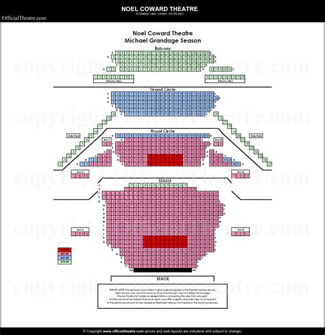 The Grand Coward noel coward theatre seat map and prices for half a