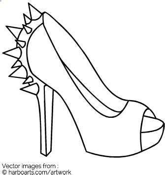 High Heel Shoes Outline by Block Heel With Studs Outline Vector Graphic