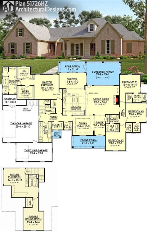 plan 51726hz 4 bed country with upstairs expansion bonus rooms house and design