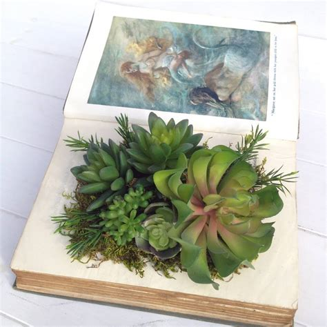 Succulent Book Planter deluxe edition succulents in vintage book planter by beaux
