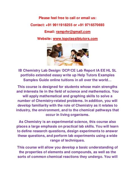 design lab report ib ib chemistry lab design dcp ce lab report ia ee hl sl