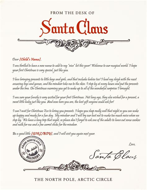 free printable baby s first letter from santa baby s first christmas santa letter