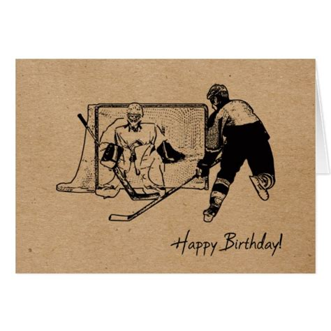 printable birthday cards hockey happy birthday hockey card male zazzle