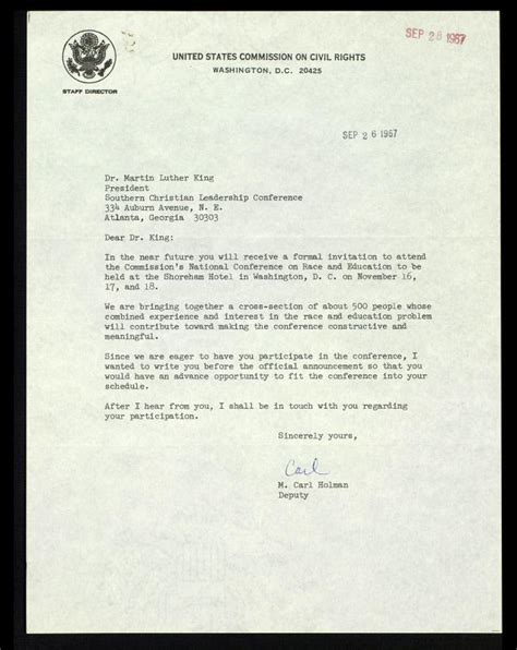 Invitation Letter King S College Letter From M Carl Holman To Mlk Regarding Event