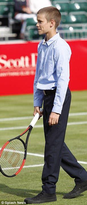 romeo beckham tennis tournament romeo beckham plays aspall tennis classic match in london