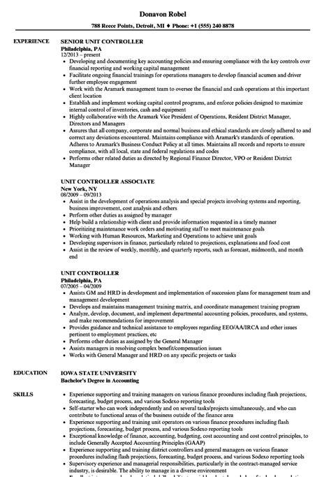 Unit Resume by Unit Controller Resume Sles Velvet