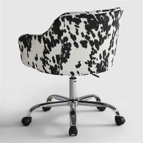 Cow Print Office Chair udder madness cow print velvet jozy home office chair world market