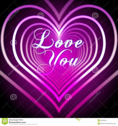 Shining Pink Hearts With Love You Stock Photo   Image