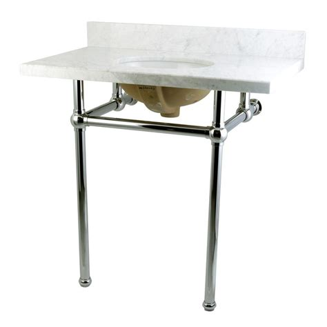 Kingston Brass Washstand 36 In Console Table In Carrara 36 Table Legs