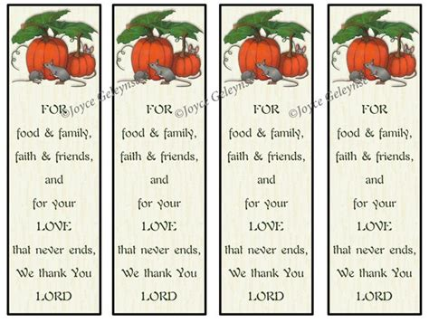 christian thanksgiving card template printable thanksgiving bookmarks pumpkins with mice prayer