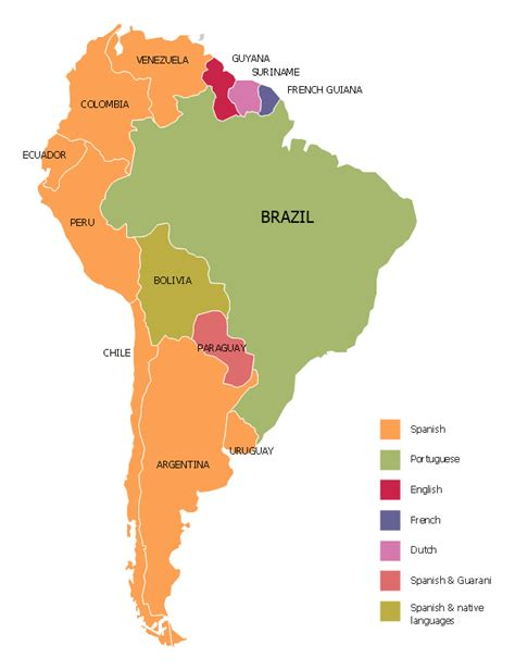 south america language map languages of south america thematic map