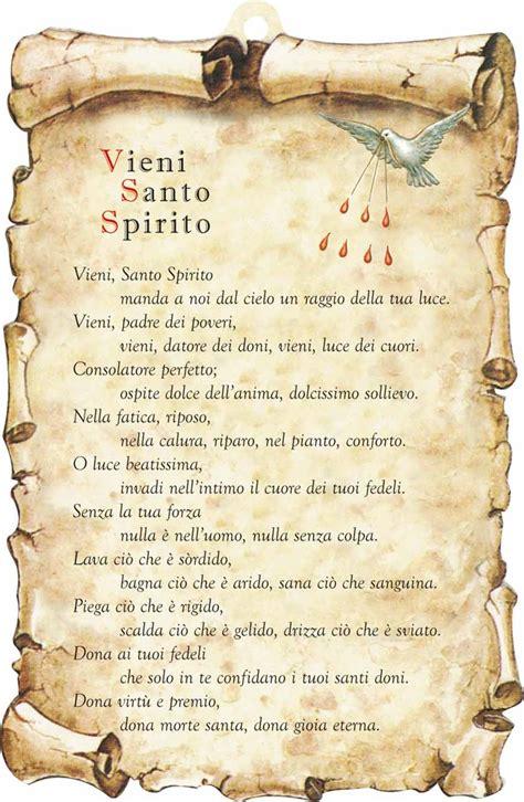 atto di fede testo preghiera tavoletta sagomata vieni santo spirito in legno