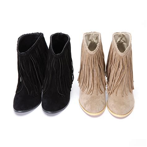 storets fringe suede ankle boots kstylick