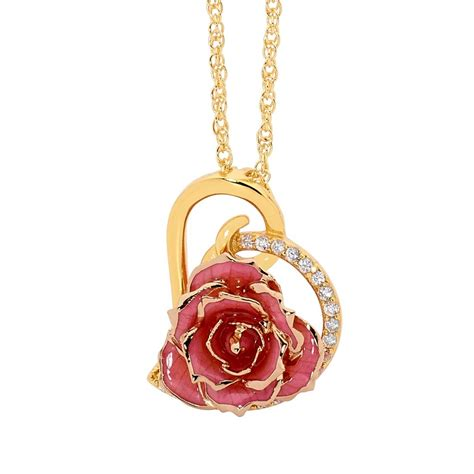 rose themed jewellery gold dipped rose pink matched jewellery set in heart theme