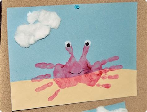 summer craft projects for preschoolers preschool crafts for summer handprint crab craft