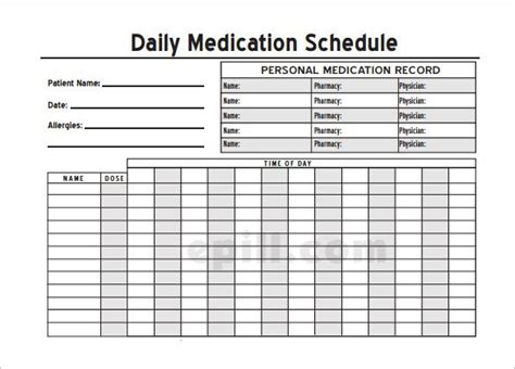 medication templates schedule home medication chart template printable daily medication