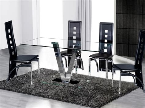 Clear Glass Dining Table And 6 Chairs Dining Table And 6 Black Chairs In Clear Glass Homegenies