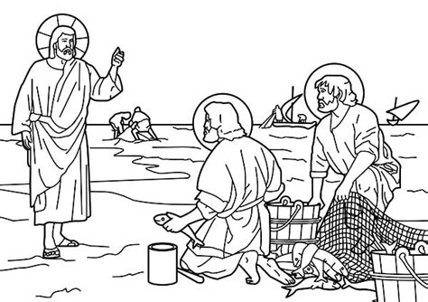 coloring page of disciples fishing printable coloring pages of disciples catching fish