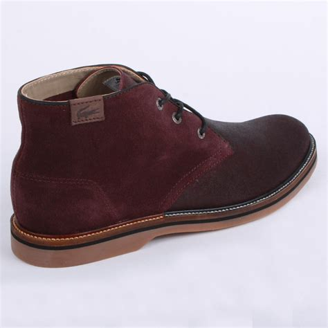 mens boots 9 lacoste sherbrooke hi 9 mens desert boots in burgundy