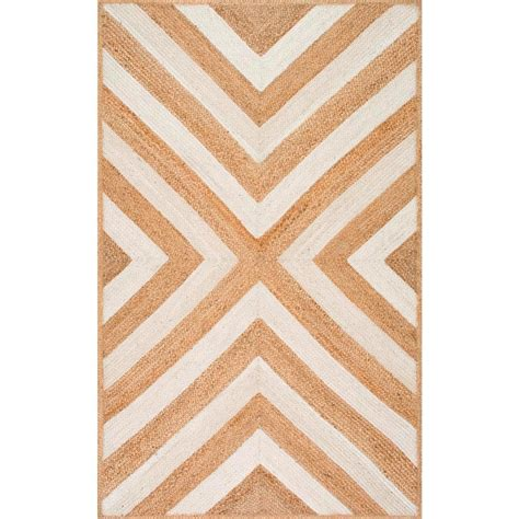 nuloom chevron rug nuloom edna chevron jute 5 ft x 8 ft area rug tajt11a 508 the home depot