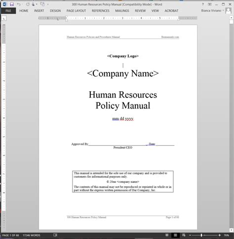 Human Resource Handbook Template Human Resources Policy Manual Abr41mpm