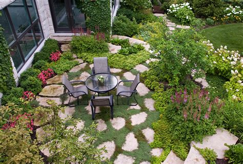 backyard patio landscaping ideas flagstone patio with creeping thyme in northbrook van zelst