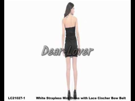 Hq 16245 Bow Sleeveless Dress dear lover strapless mini dress with lace cincher bow belt wholesale