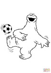 cookie monster plays soccer coloring page free printable