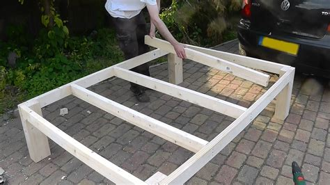 how to make a bed frame out of pallets heavy duty diy bed youtube