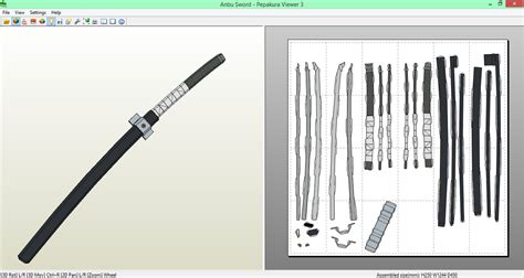 Papercraft Weapons Templates - anbu sword papercraft by sibor270898 on deviantart