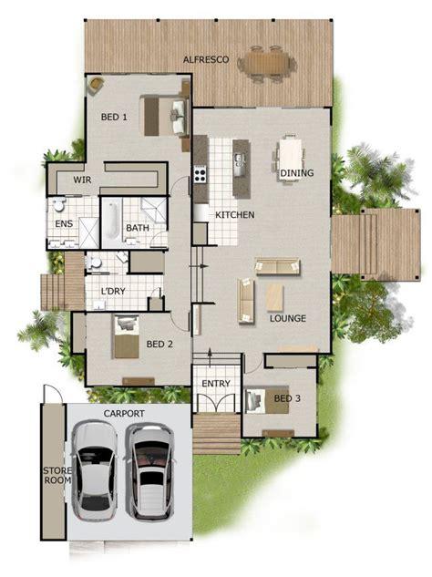 split level house plan large deck area  bathrooms