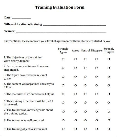 evaluation form templates 7 sle evaluations sle templates