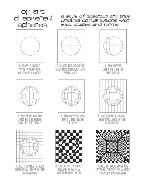 printable optical illusions lesson plans op art checkered spheres drawing pinterest art