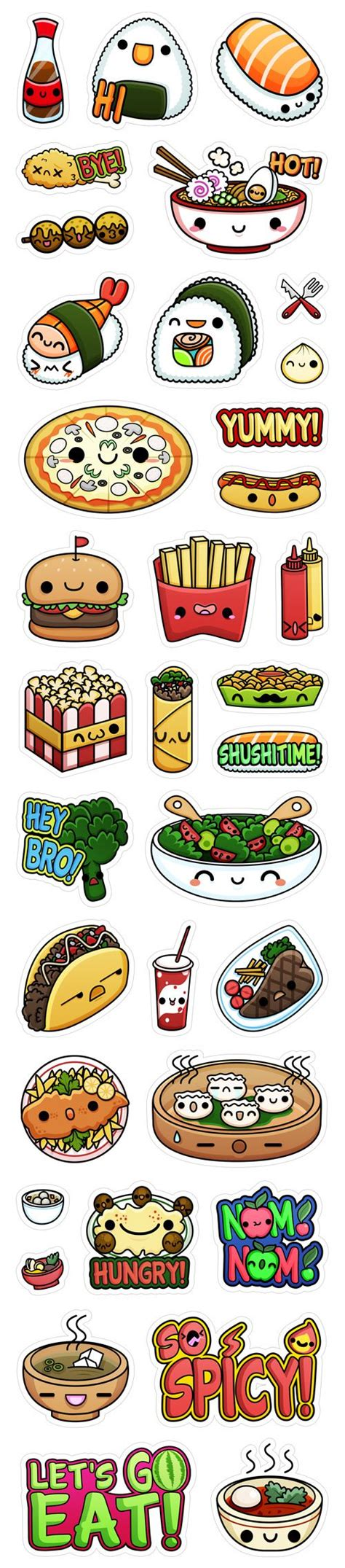 sticker doodle draw viber s kawaii food stickers by squid pig via behance