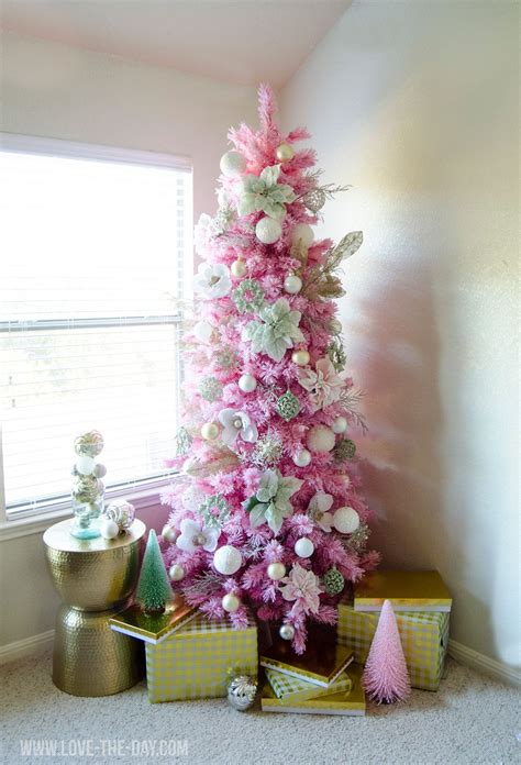 pink gold christmas tree love the day