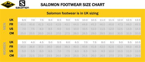 shoe size chart salomon size charts salomon mountain designs outlet