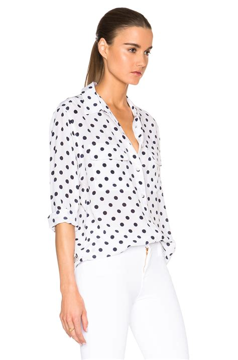 White Dot Top Y222 equipment signature polka dot top in white lyst