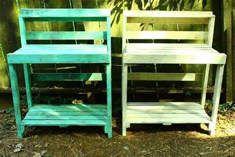 how to make a potting bench diy turquoise pallet potting bench pallet furniture diy
