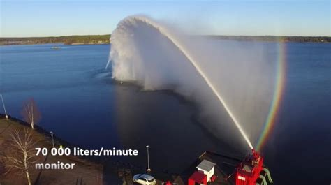 tug boat water cannon test of world s largest water cannon video vesselfinder