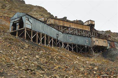 Exterior Of The Abandoned Arctic Coal Mine Buildings In