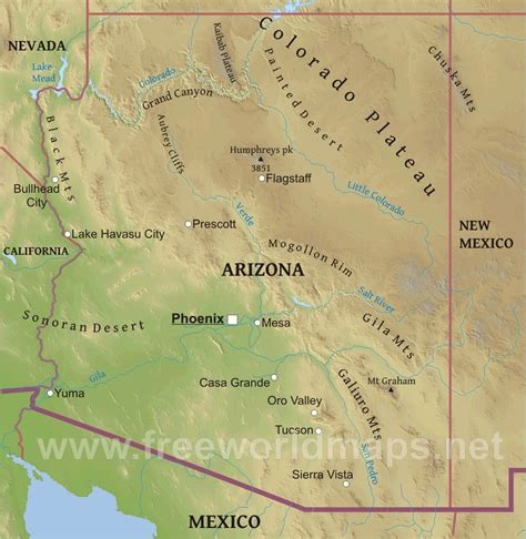 Southwestern Home by Physical Map Of Arizona