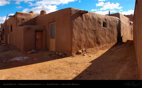 Adobe Pueblo Houses by Taos Pueblo Unesco World Heritage Site