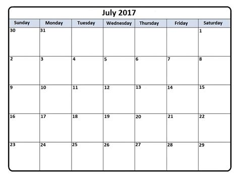 july 2017 calendar ms word