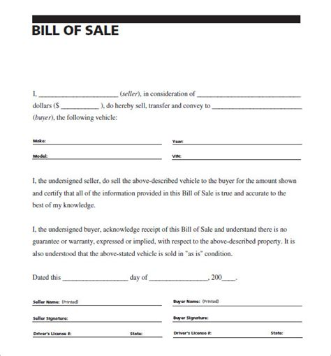 template for auto bill of sale auto bill of sale 8 free word excel pdf format