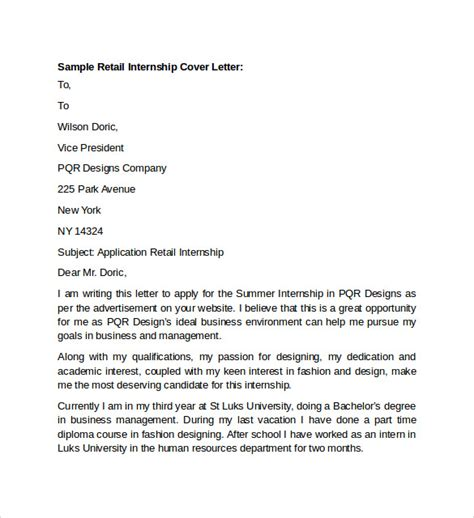sle of cover letter for internship sle retail cover letter template 9 free