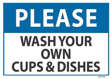 wash your own wash your own cups dishes industrial signs