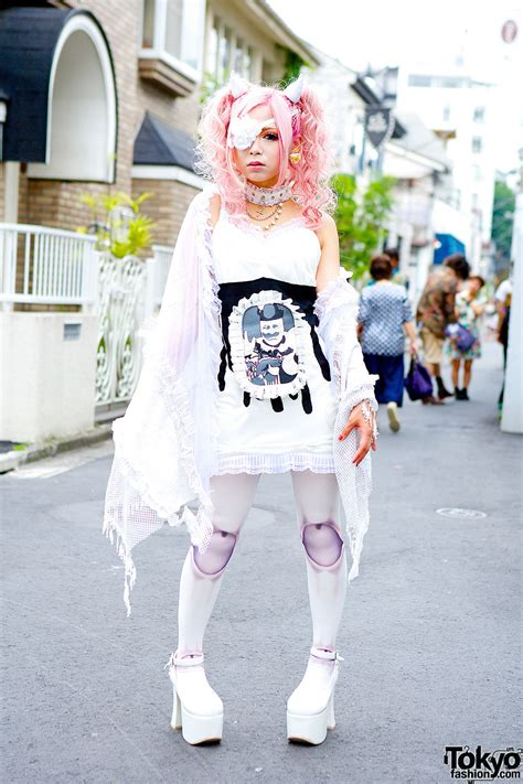 Horn Style Sml Dress rumanjyu in harajuku w eye patch horns pink hair h naoto
