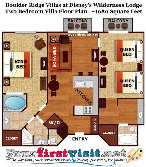 Disney World Club Villas Floor Plan - the master bedroom and bath area of a boulder ridge villa
